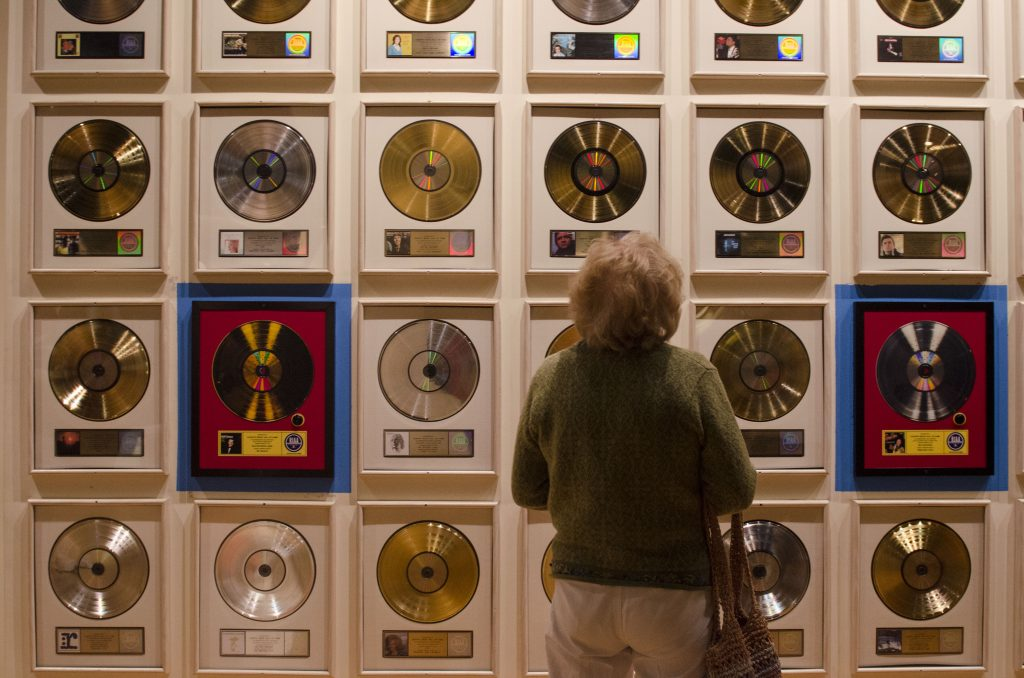 Gold, Silver and Platinum records at the Country Music Hall of Fame. (Photo by: Nikita Sampath)