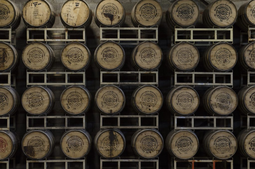 Barrels of whiskey at Nelson's Green Brier Distillery. (Photo by: Nikita Sampath)